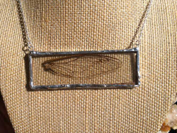 Cicada Wing encased in glass necklace