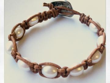 leather pearl macrame bracelet