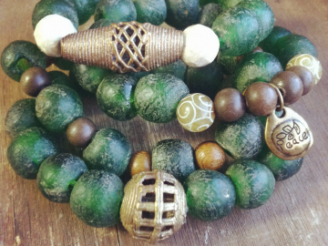 Recycled Glass and African Brass bracelets